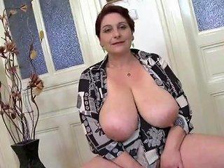 Mom Fondles Her Huge Saggy Natural Tits