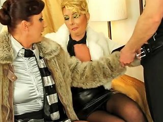 Fur Coat Babes Fucked In Threesome