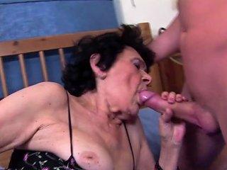 Frat Guy Fucks His Stiff Dick Into Her Granny Pussy