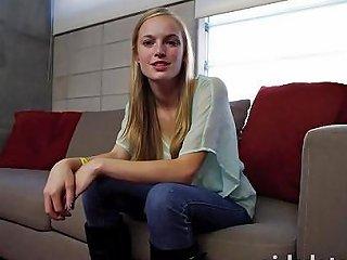 Busty Blonde Girl Next Door Gets Super Wet On The Sofa