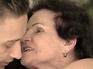 Promiscuous Grandma Rides Dick Until Sweet Facial Reward