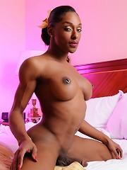 Ebony TS Natalia Coxxx posing her enormous cock
