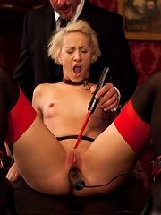 Naked slut submits to electro-torture
