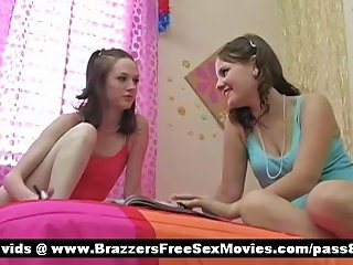 Two Young Chicks In Bed Bored