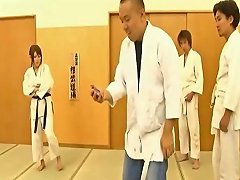 Japanese Karate Teacher With Big Tits Gets Fucked By Students