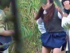 Asian Teens Piss In Park