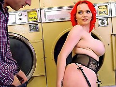 Tremendous Redhead Woman With Huge Tits Gets Fucked In A Laundromat