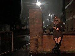 Themidnightminx Public Flashing In Fishnet Tights Tranny